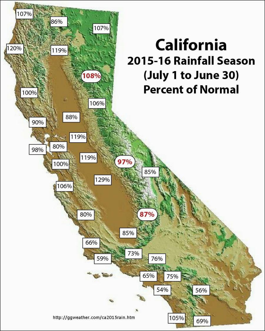California 2015 2016 Rainfall Season